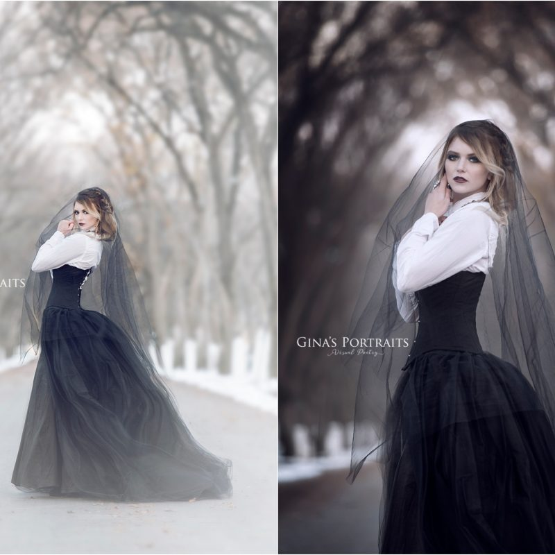 Model portrait in winter in white and black dress and black veil