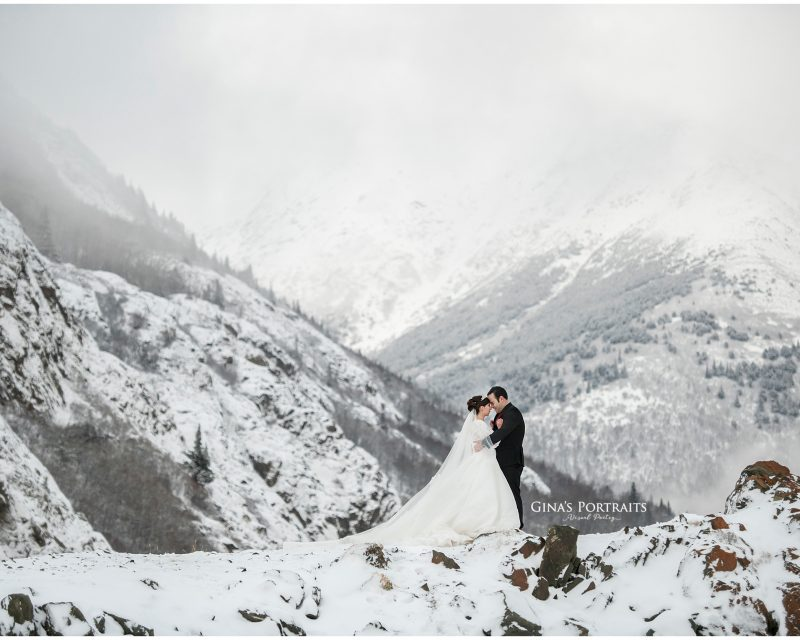 Bride & Groom on mountain