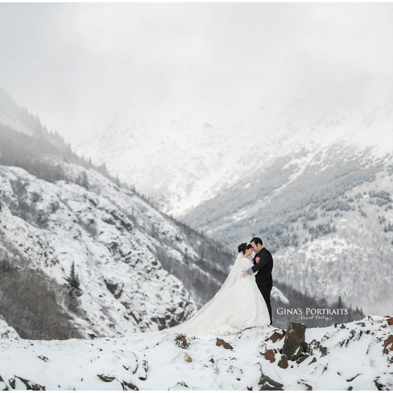 Bride & Groom on mountain